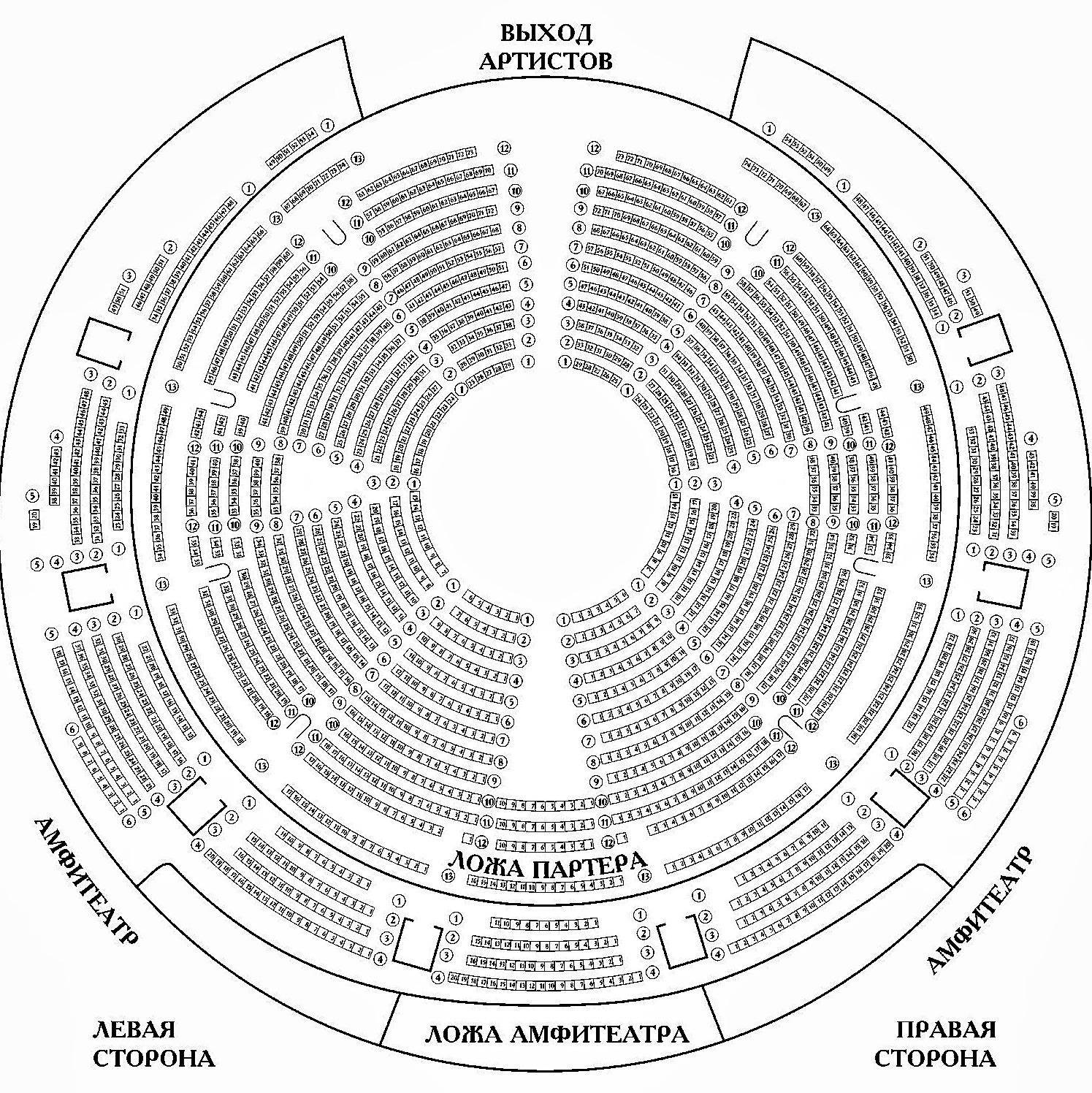 Схема зала Московский цирк Юрия Никулина на Цветном бульваре