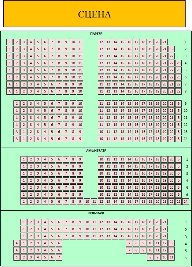 Схема зала Театр им. Ермоловой (Основная сцена)