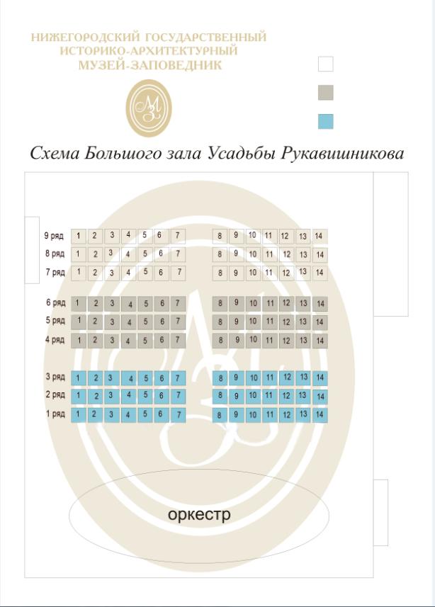 Схема зала Музей «Усадьба Рукавишниковых» (Нижний Новгород)