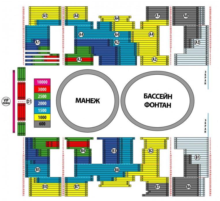Схема зала УСК ЦСКА