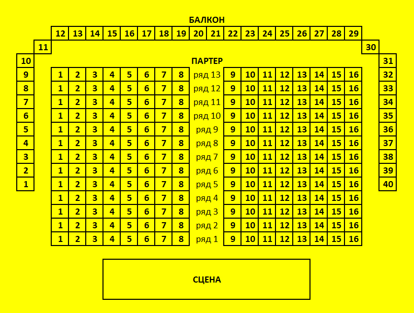 Схема зала Культурное пространство DKRT (Нижний Новгород)