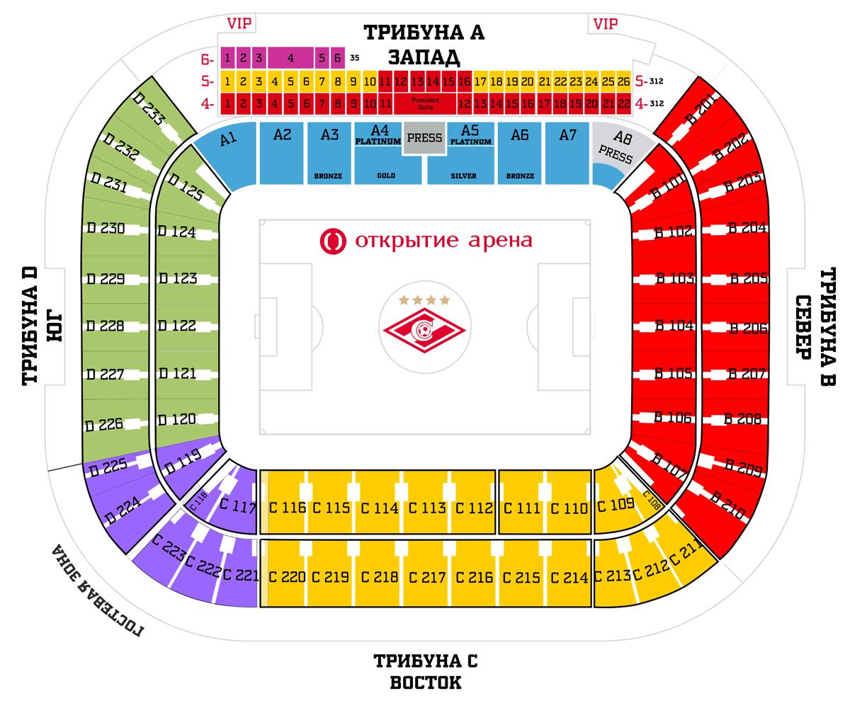 """Схема зала Стадион """"Открытие Арена"""""""