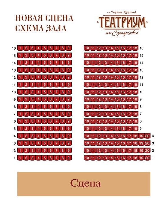 Схема зала Малый зал Театриума на Серпуховке