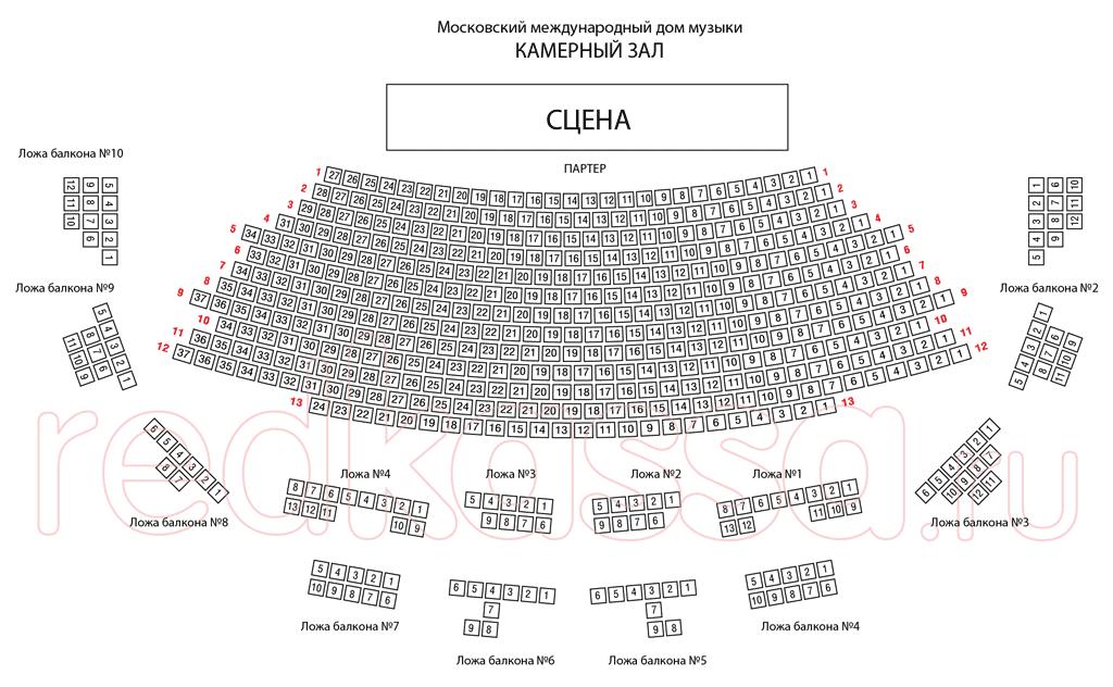 Схема зала Дом музыки (ММДМ), Камерный зал