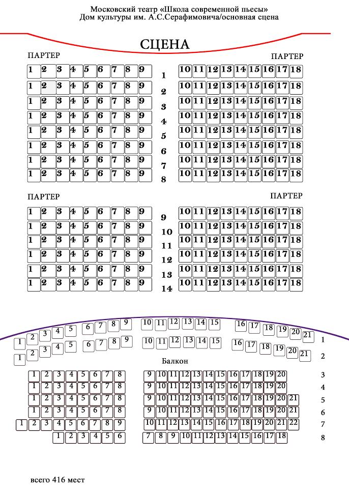 "Схема зала Театр ""ШСП"" на сцене ДК им. А.С. Серафимовича"