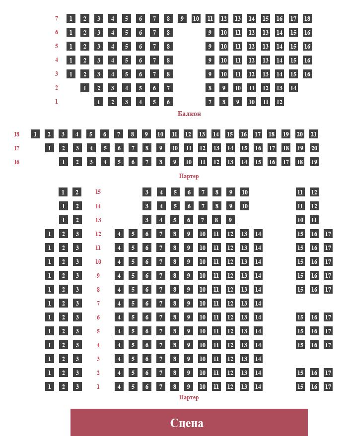 Схема зала Малый зал Московской консерватории