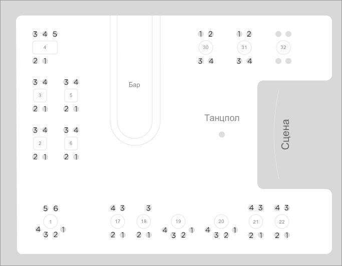 "Схема зала Клуб ""Шестнадцать Тонн"" (16 Тонн)"