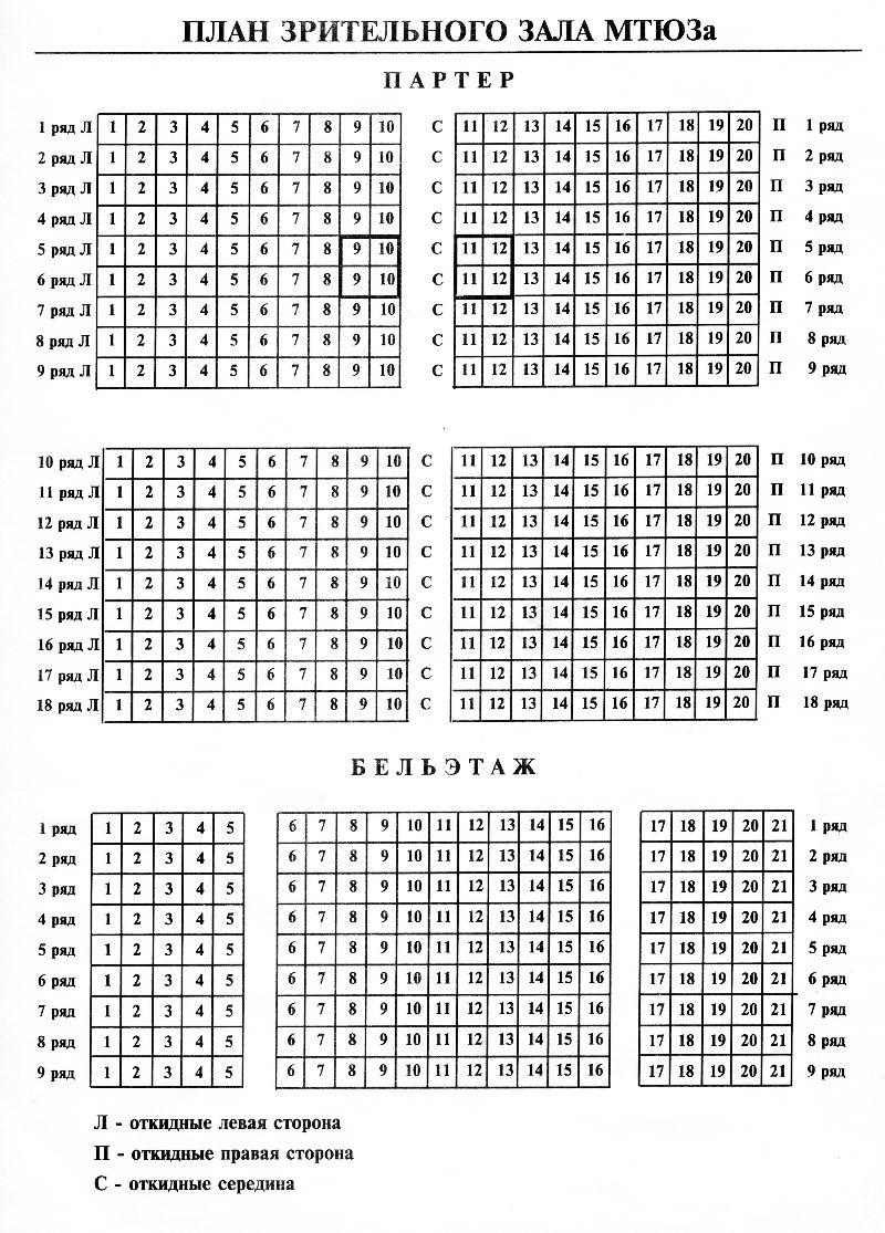 Схема зала Московский театр юного зрителя (МТЮЗ)