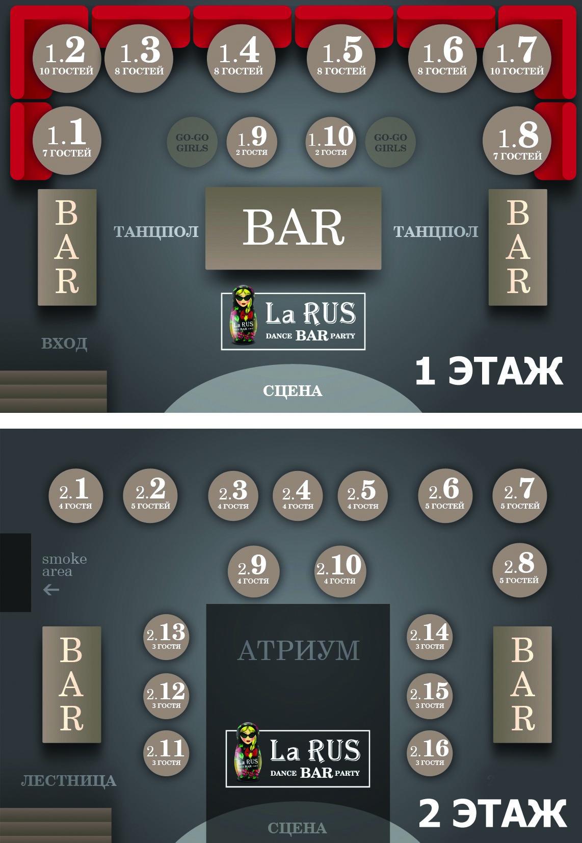 Схема зала La RUS BAR (Нижний Новгород)