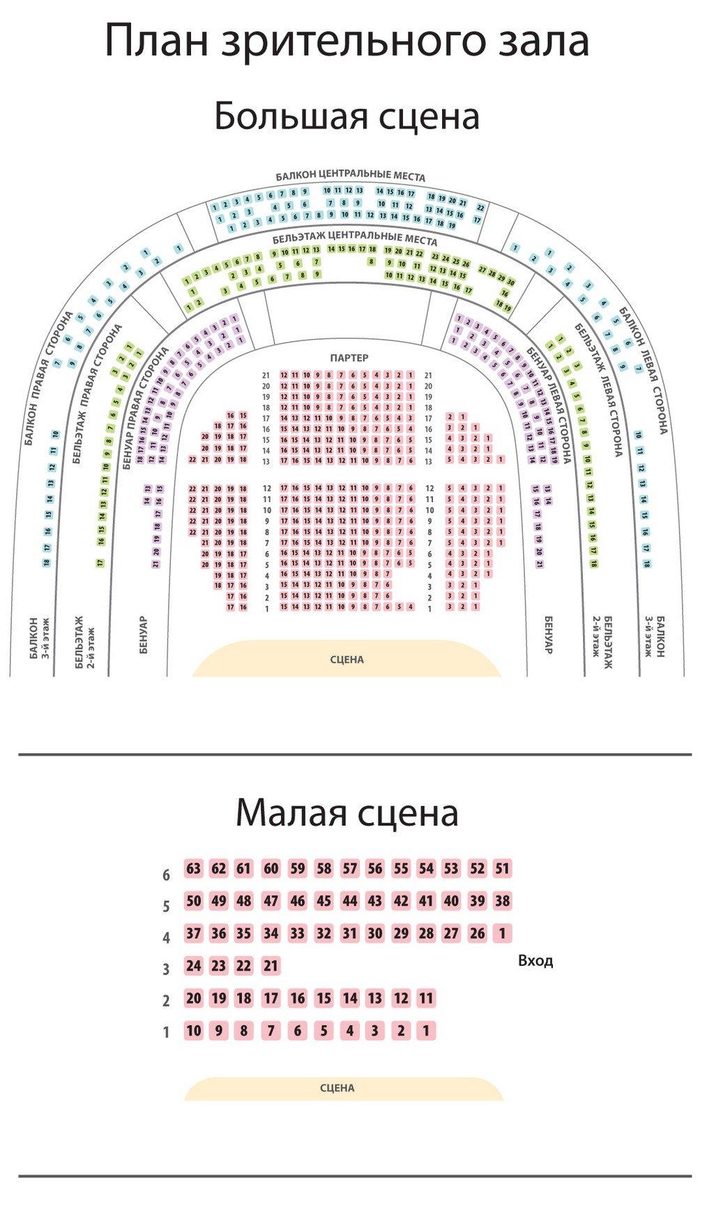 Схема зала Тверской областной академический театр драмы