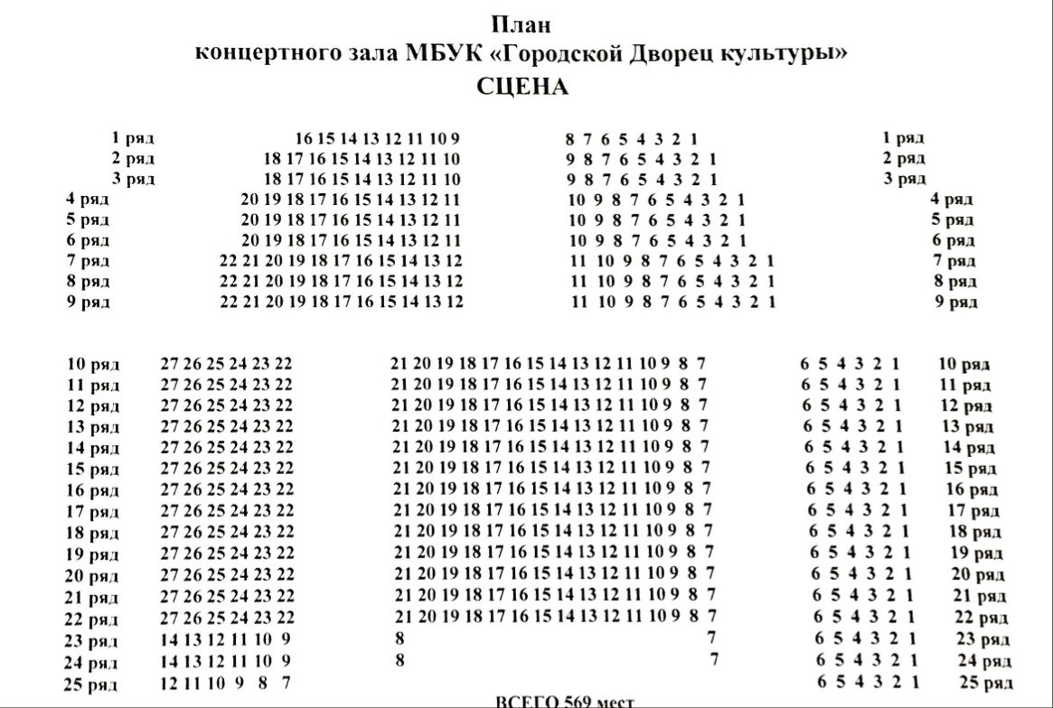 Схема зала ГДК (Армавир)