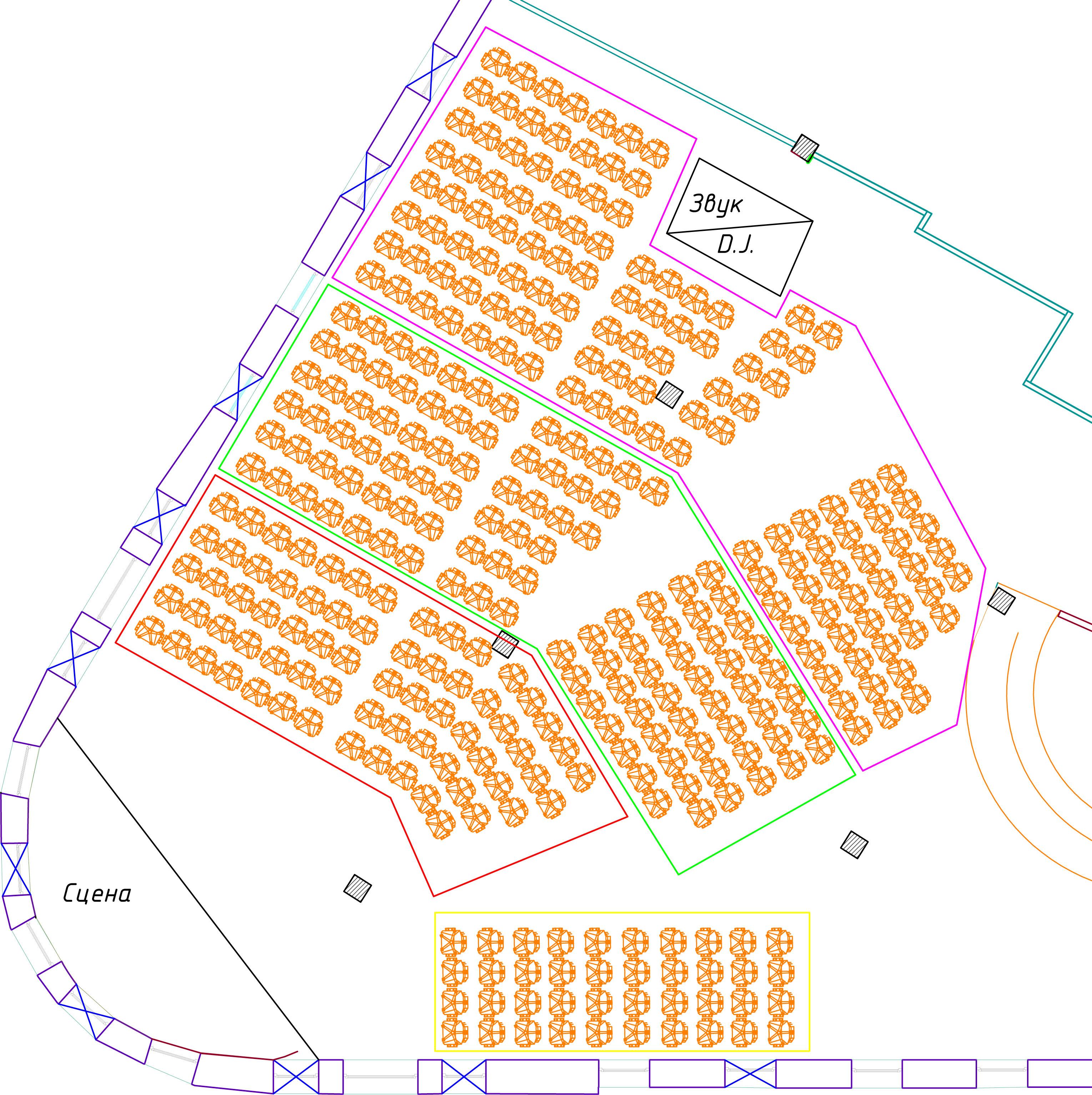 Схема зала Шоколадный лофт проекта «Сноб»