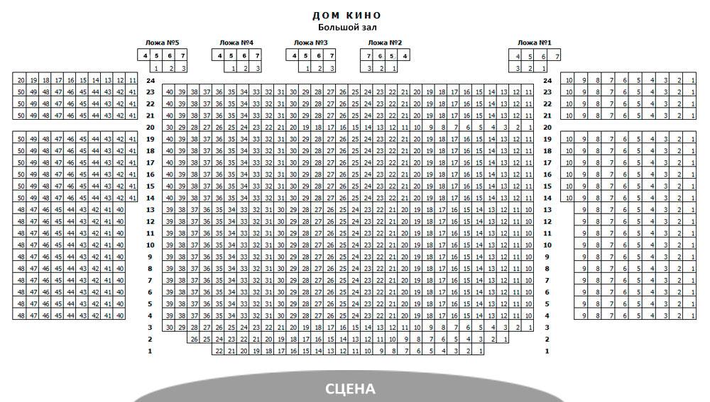 Схема зала Московский Дом кино (большой зал)