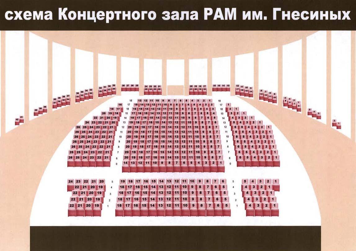 Схема зала КЗ РАМ им. Гнесиных