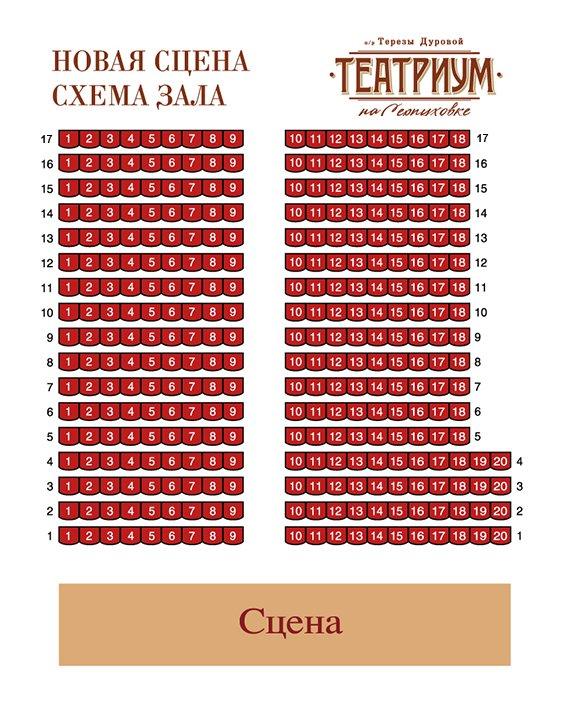 Схема зала Театриум на Серпуховке (Новая сцена)