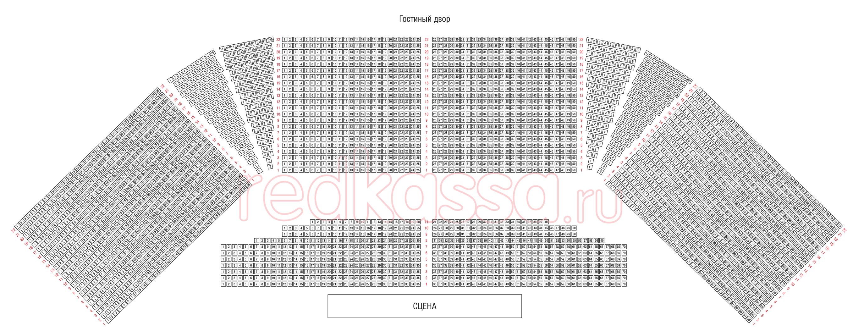 Схема зала Гостиный Двор