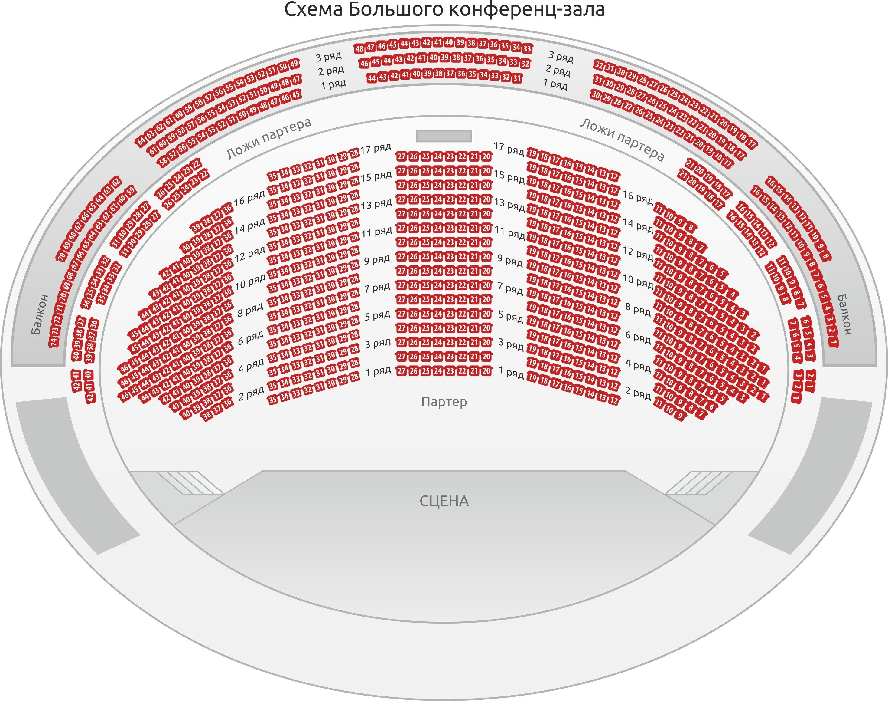 Схема зала Большой конференц-зал Правительства Москвы