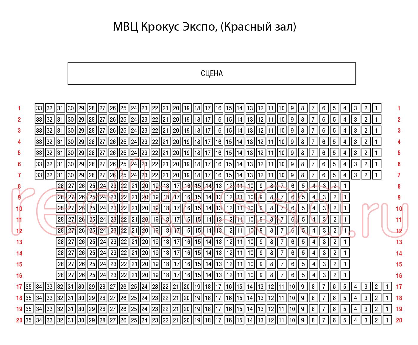 """Схема зала МВЦ """"Крокус Экспо"""", павильон №2 (Красный зал)"""
