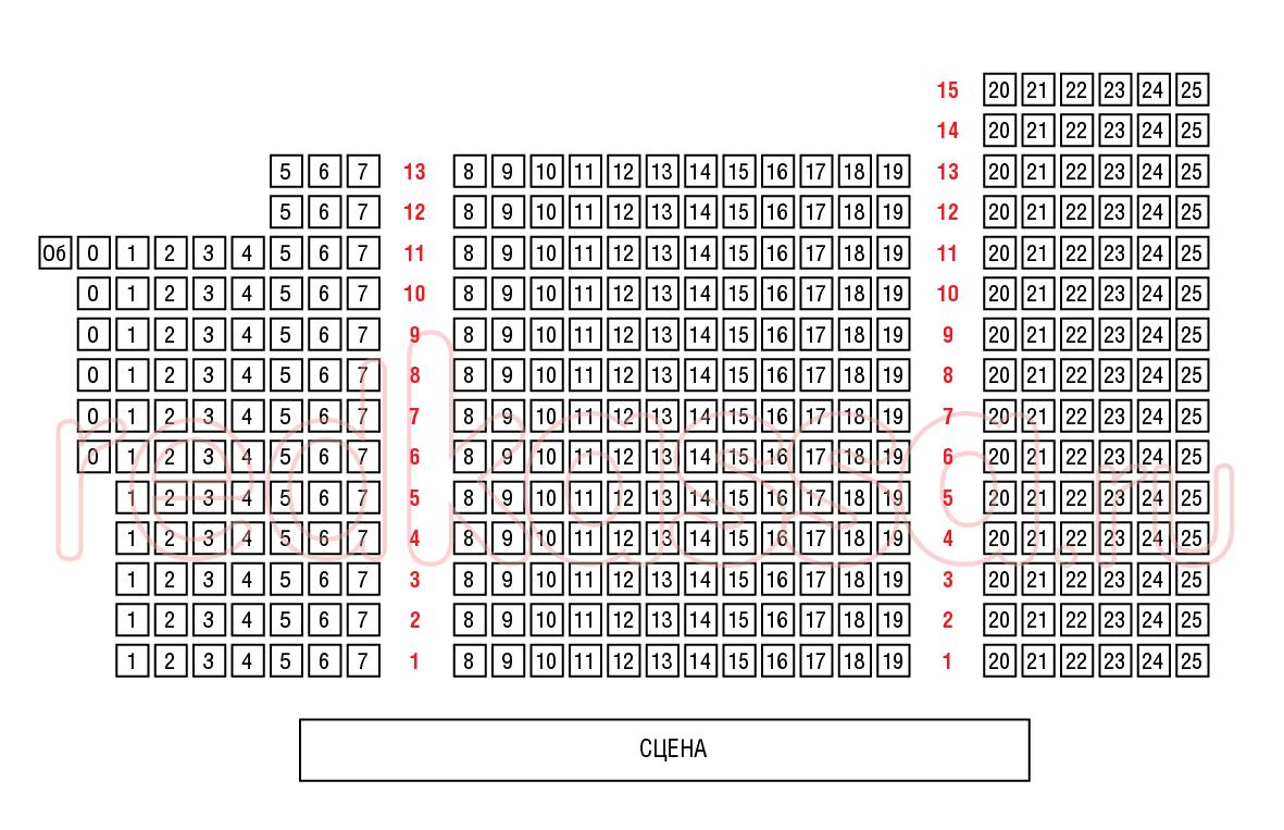 Схема зала Центральный Дом актера на Арбате