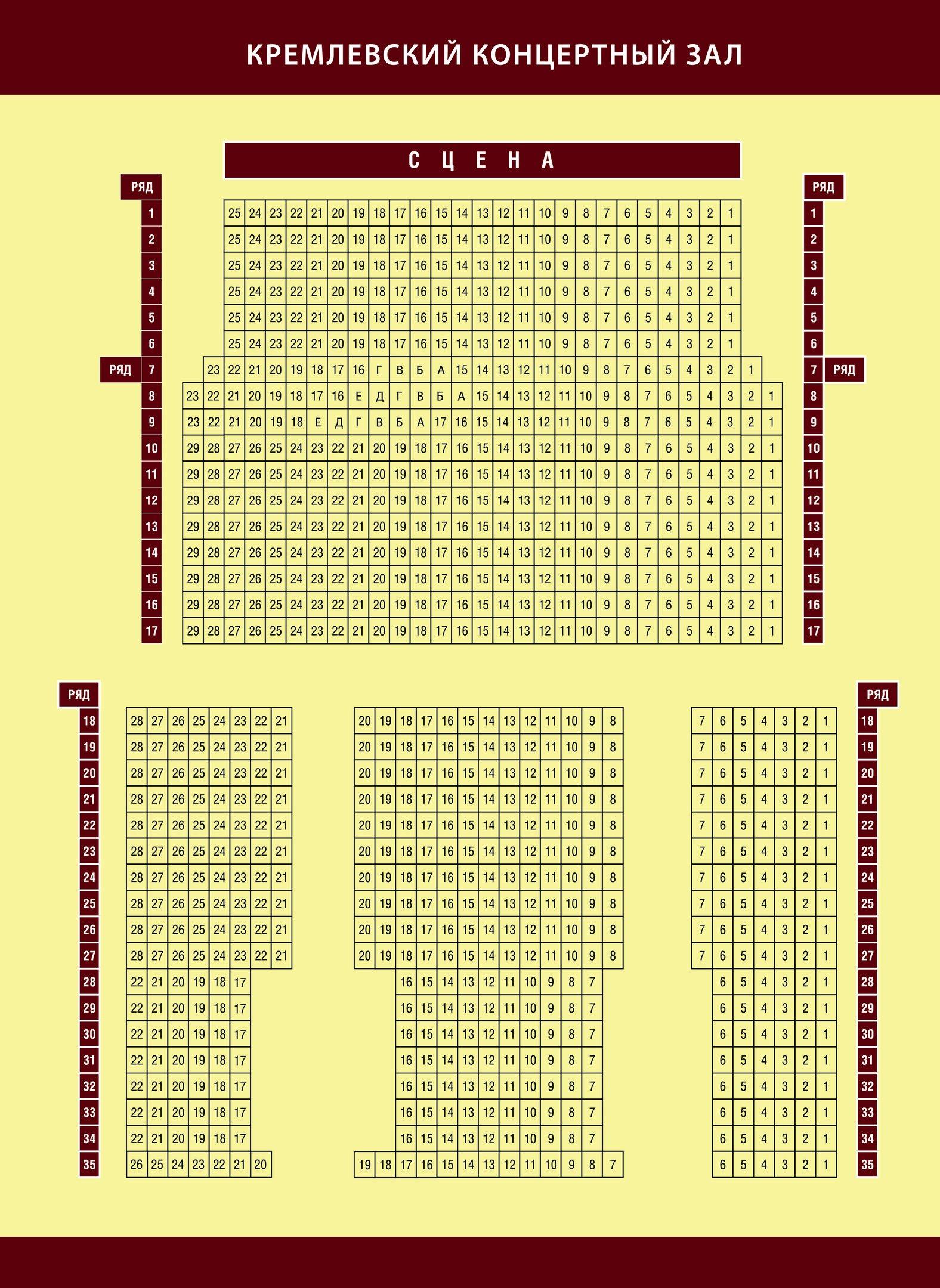 Схема зала Кремлевский концертный зал (Нижний Новгород)