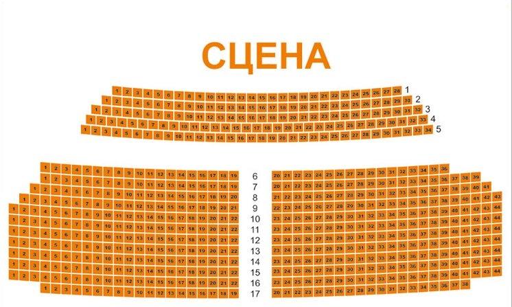 Схема зала Саратовский академический театр юного зрителя им. Ю.П. Киселева