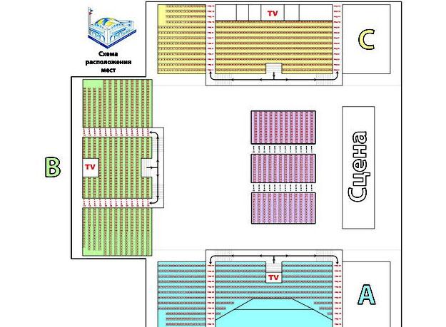 Схема зала Волейбольный спортивный комплекс (Одинцово)