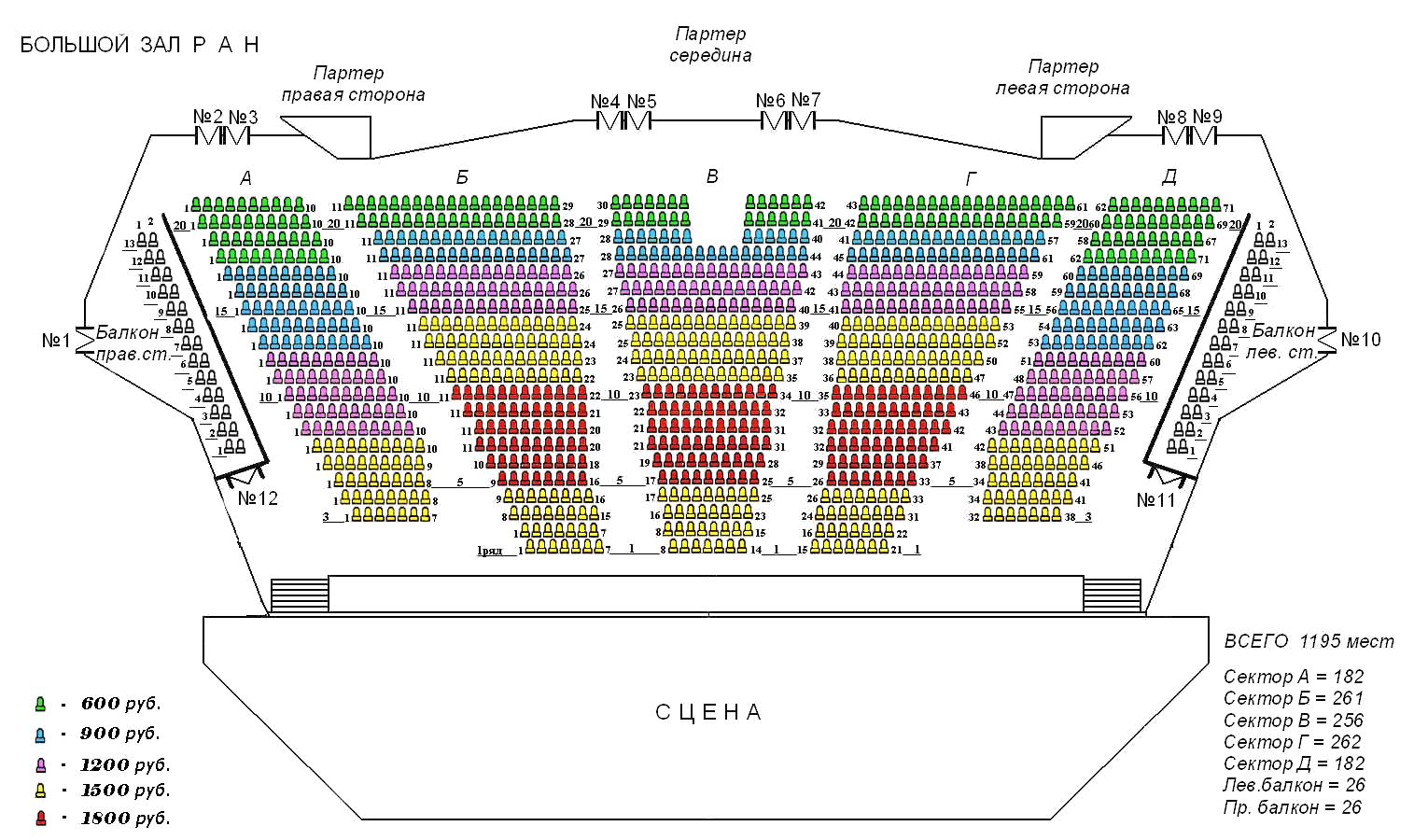 Схема зала БКЗ Академический