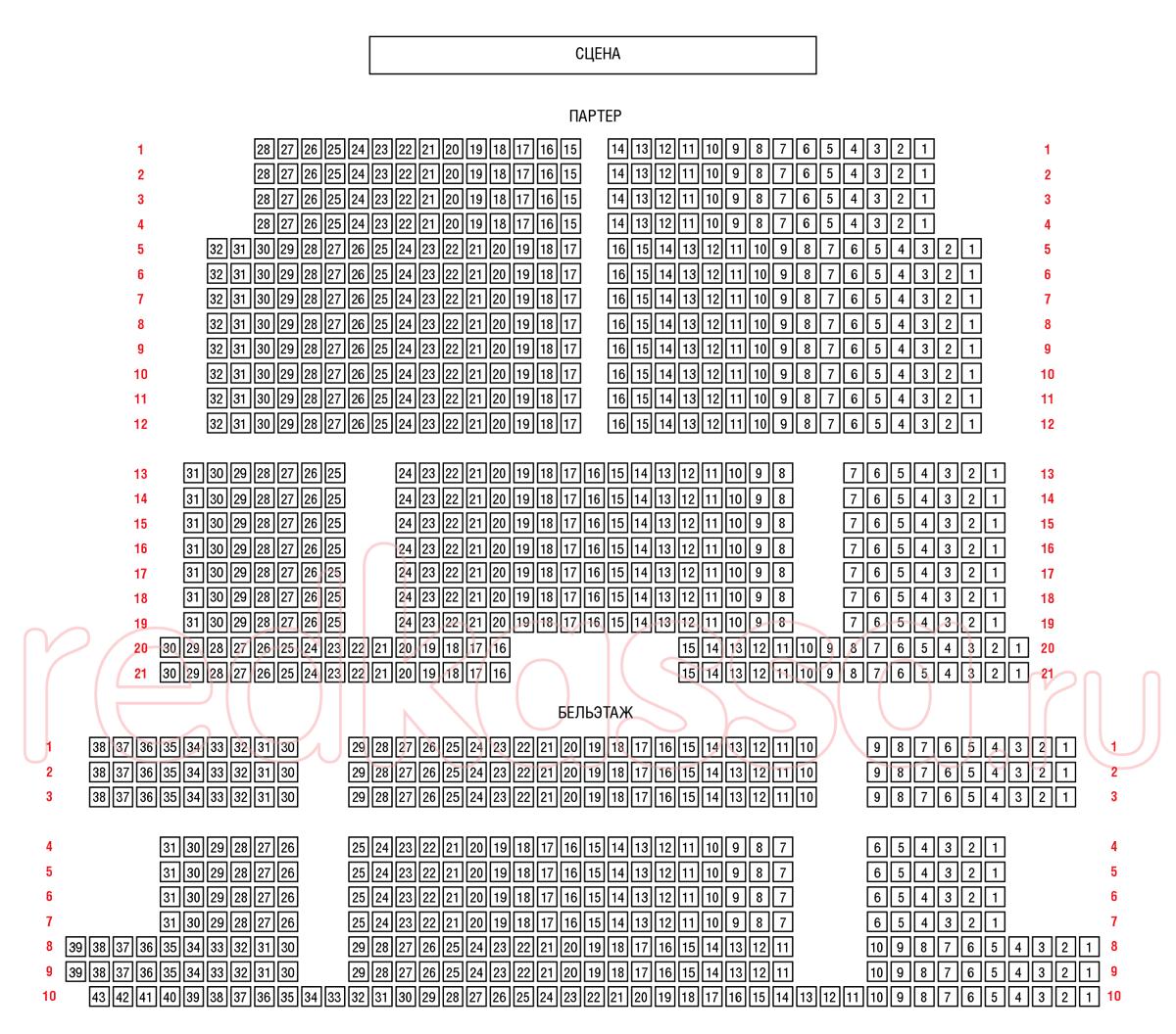 Схема зала Театриум на Серпуховке п/р Терезы Дуровой
