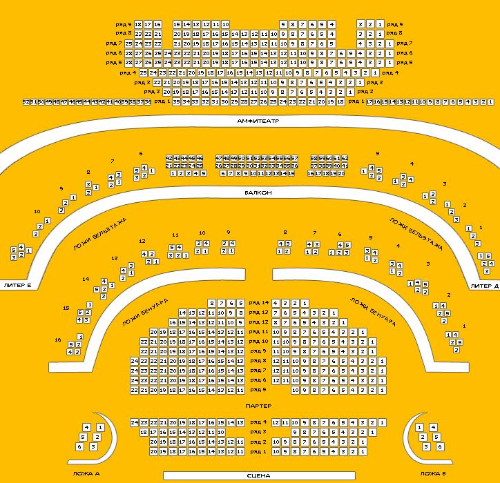 Схема зала Нижегородский театр драмы имени М. Горького