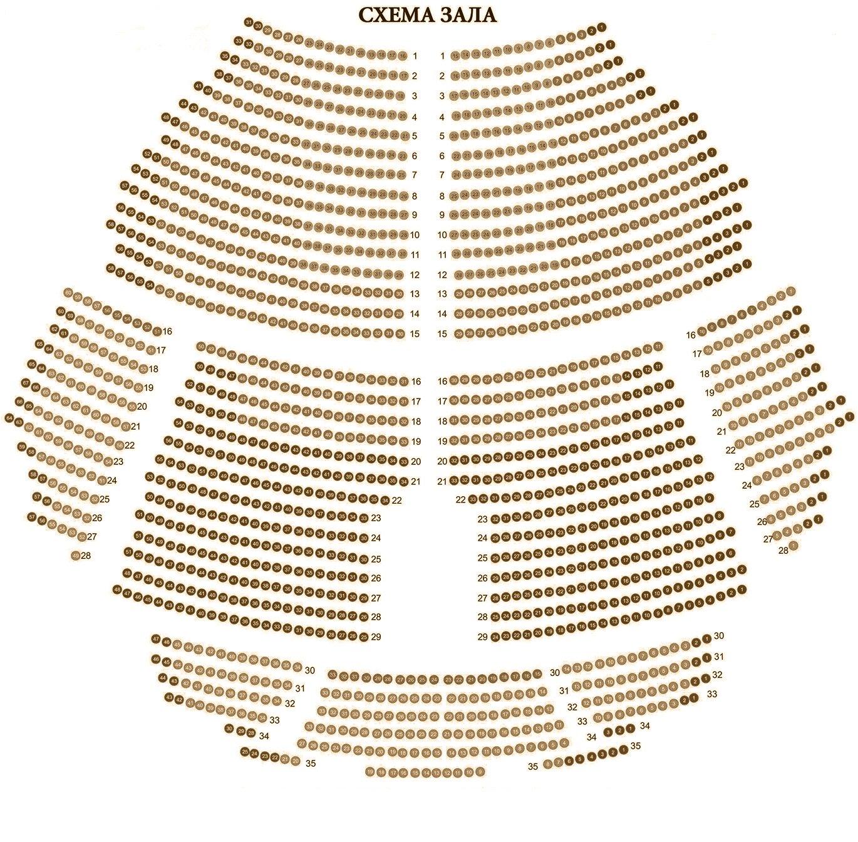 Схема зала Московский Дворец молодежи (МДМ)