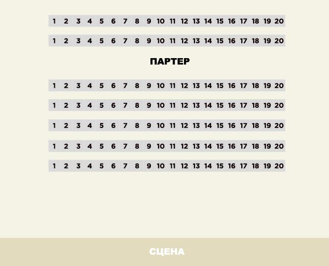 Схема зала МХТ им. А.П. Чехова (Новая сцена)