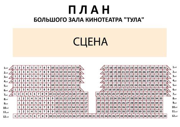 Схема зала Кинотеатр Тула