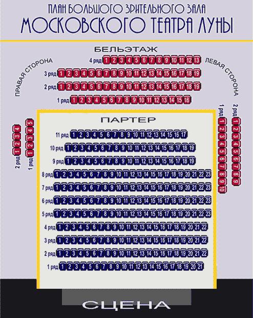 Схема зала Театр Луны (Основная сцена)