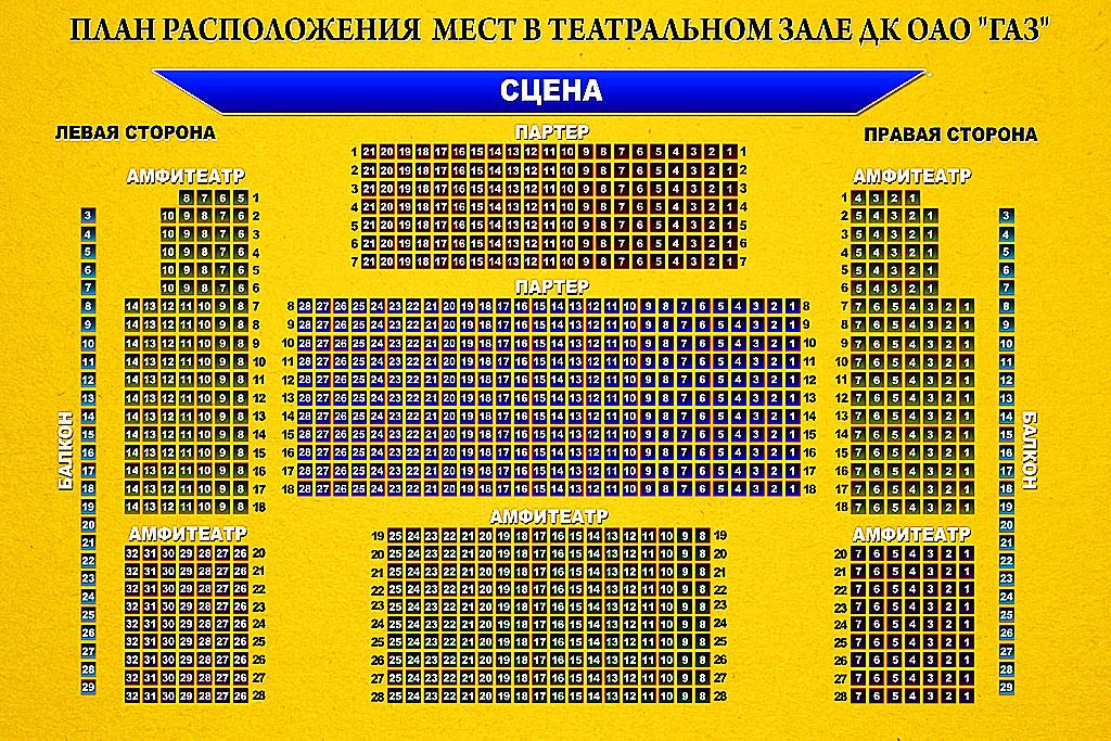 Схема зала ДК ГАЗ (Нижний Новгород)
