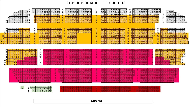 Схема зала Зеленый театр на ВДНХ