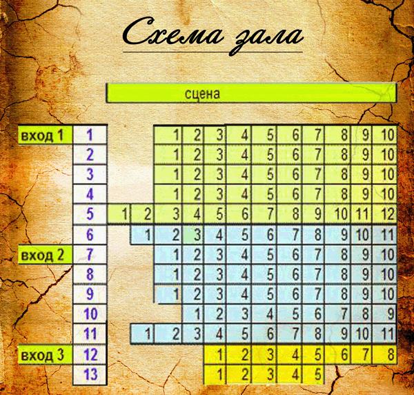 Схема зала Театр им. М.А. Булгакова
