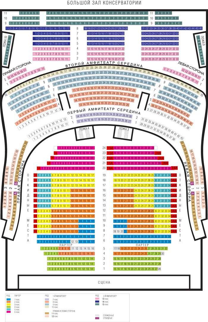 Схема зала Большой зал Московской консерватории им. П.И. Чайковского