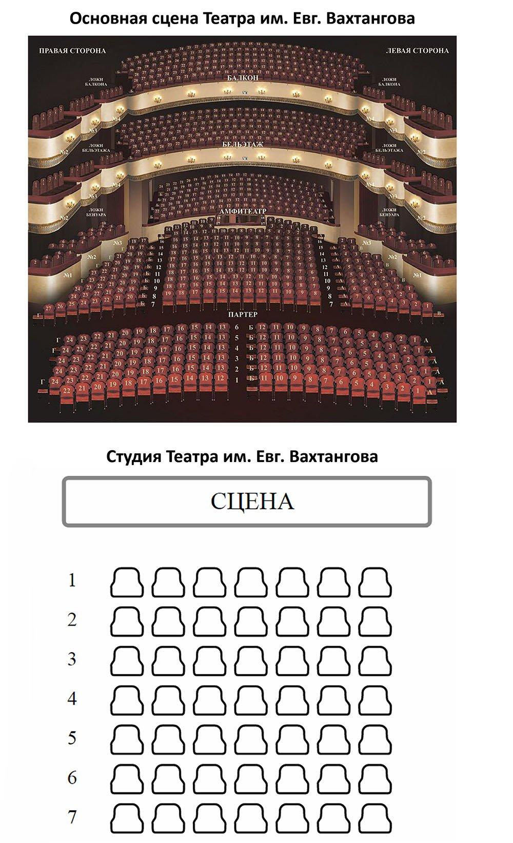 Схема зала Театр имени Евг. Вахтангова (Основная сцена и Студия)