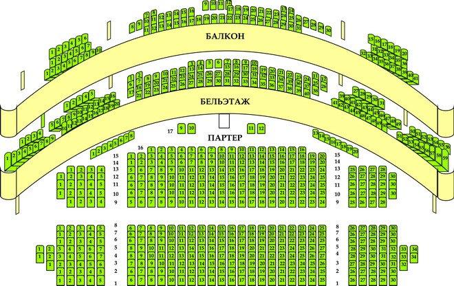 Схема зала Российский академический молодежный театр