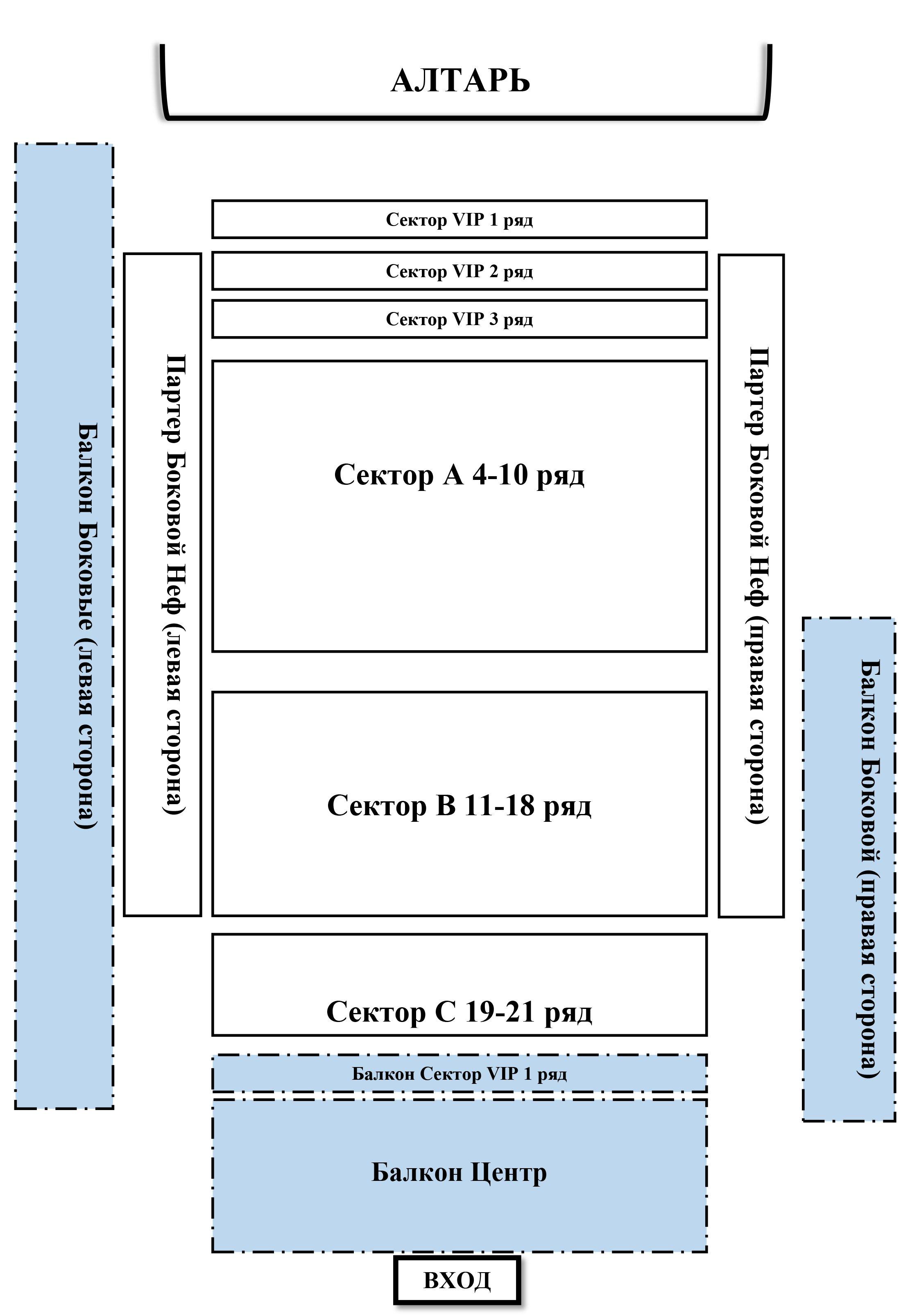 Схема зала Евангелическо-лютеранский кафедральный собор святых Петра и Павла