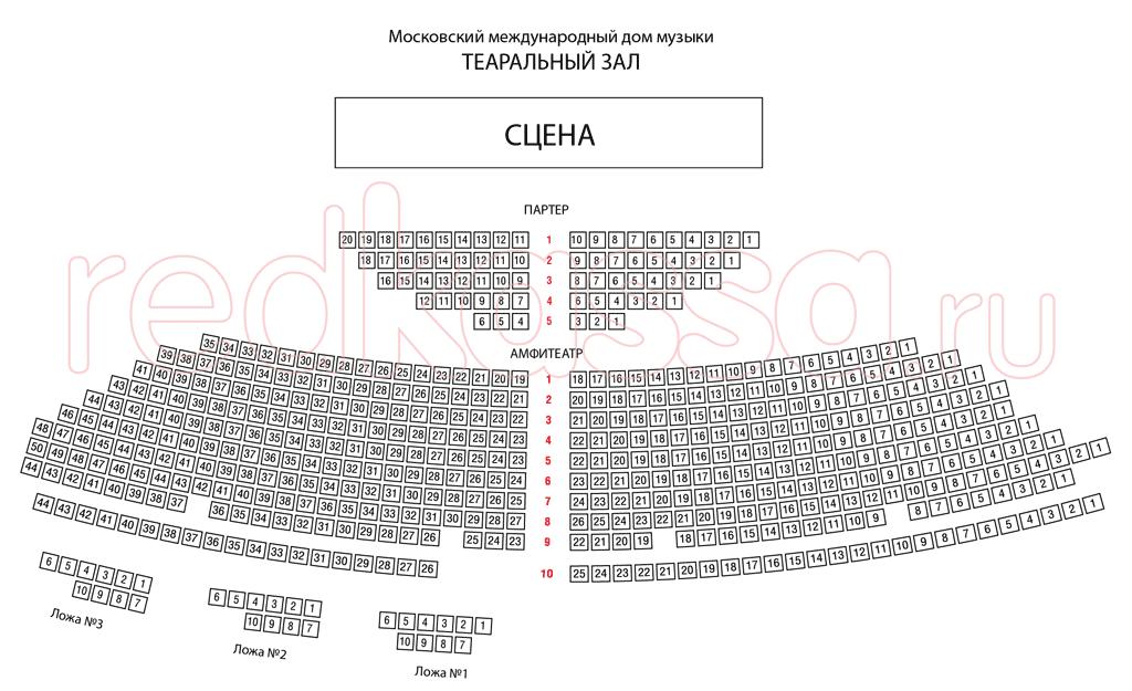 Схема зала Дом музыки (ММДМ), Театральный зал